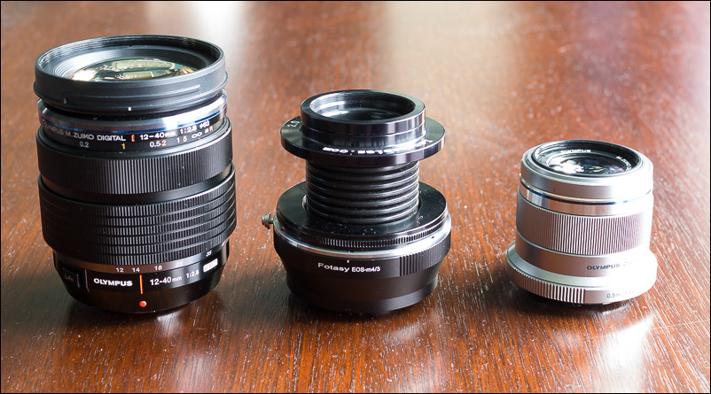 From left to right - Olympus 12-40mm, Lensbaby with Fotasy adapter and Olympus 45mm prime