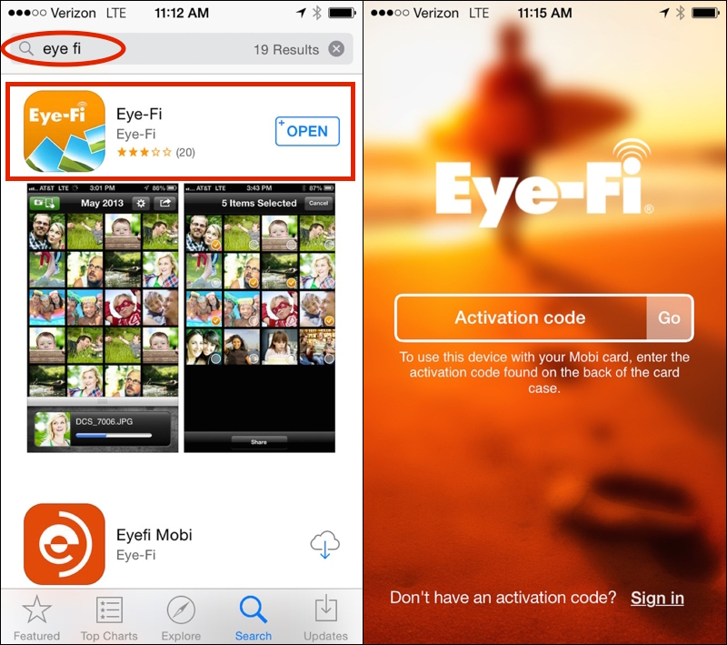 Downloading and setting up the Eye fi app on your iPhone