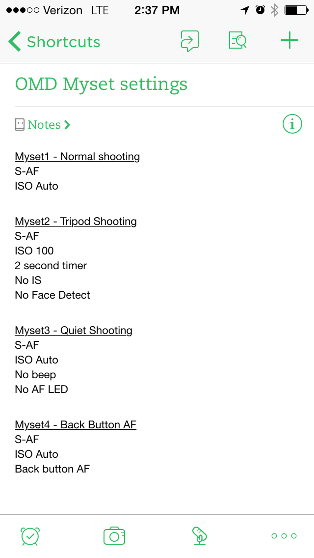 Myset settings in Evernote on the iPhone