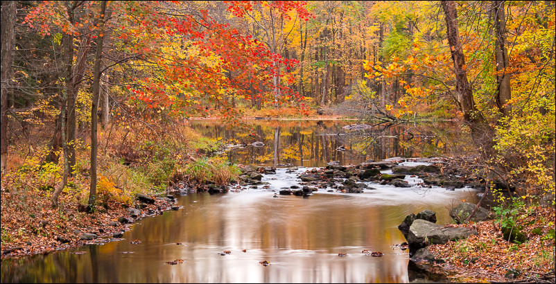 Fall colors on the Black Creek in Esopus, NY. Olympus 40-150 at 40mm and f6.3