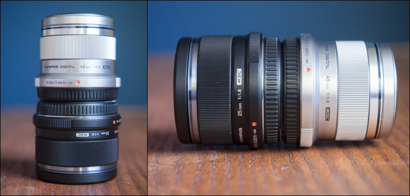 Stack small lenses like the Olympus 25mm and Olympus 45mm on top of one another.