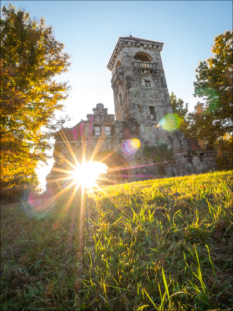 Sunrise sunburst at the Mohonk Gatehouse in New Paltz, NY.  Shot at f/20.