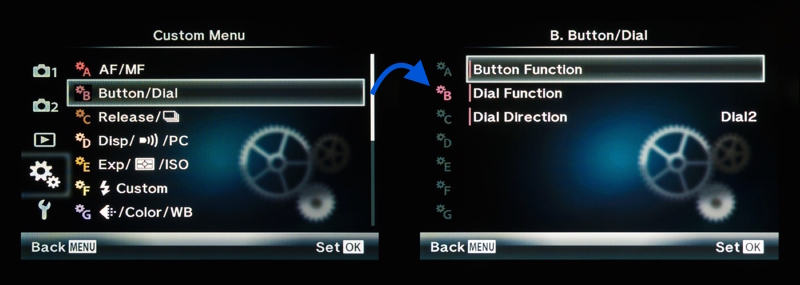 Access the button function custom menu