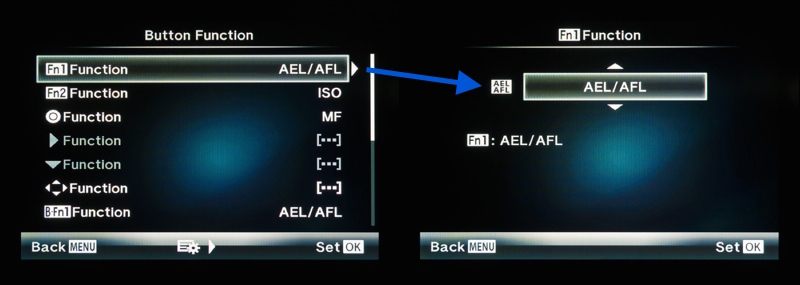 Setting the Fn1 button to control autofocus