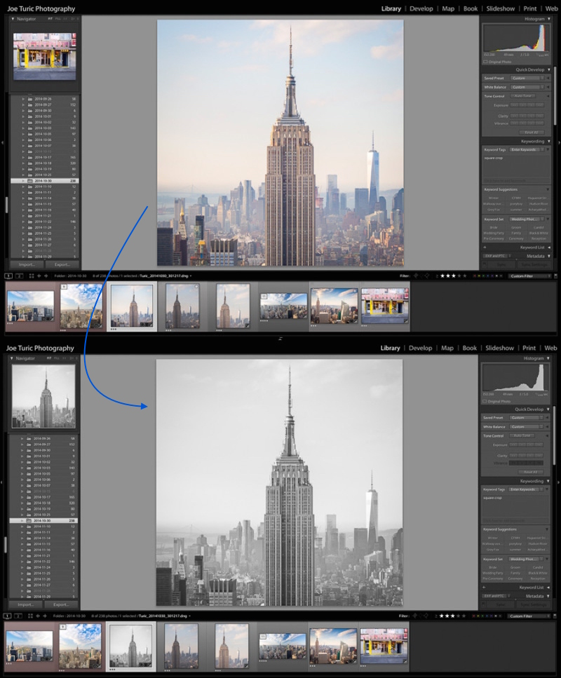 "Select a photo in any module and tap the ""v"" key to toggle a black and white treatment."