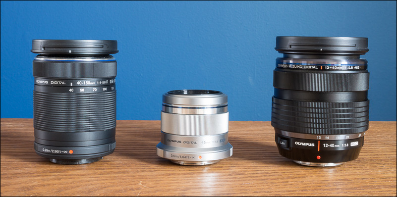 Left to right: The Olympus 40-150 f/4-5.6, 45mm f/1.8 and 12-40mm f/2.8 lenses.