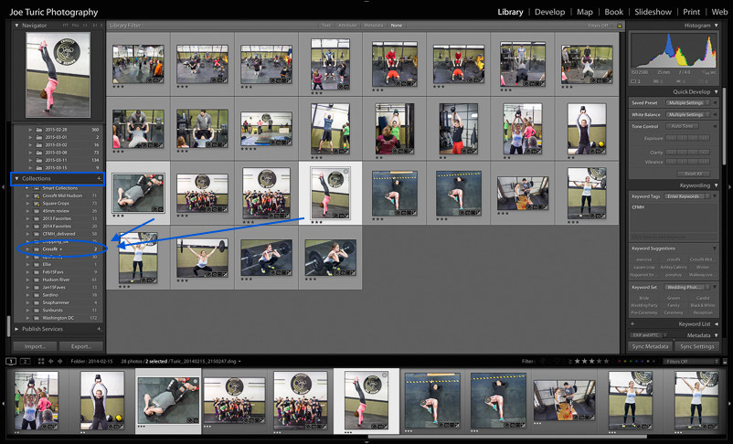 "Tapping the ""b"" key on these photos adds them to the Crossfit collection, since it's set as the target collection."