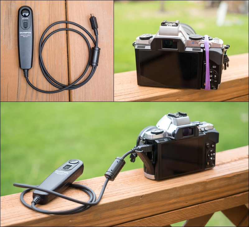 A rubber band or Olympus Cable Remote, both work to lock your shutter down.