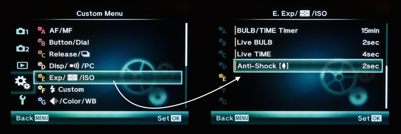 "Anti shock settings are under the Gear menu ""E""."