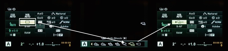 "Select the ""High Speed Anti-Shock"" shooting mode."