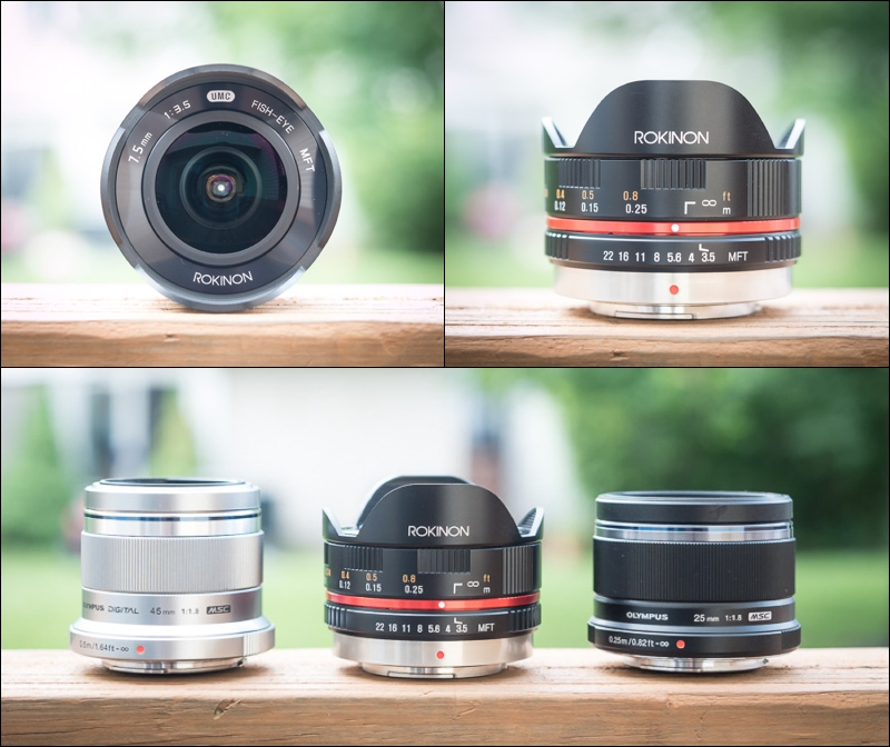 The Rokinon 7.5mm fisheye  in between the Olympus 45mm and 25mm.