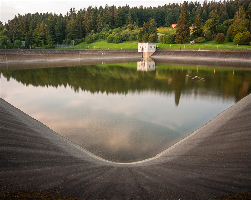 The lower reservoir at Mount Tabor at sunset.