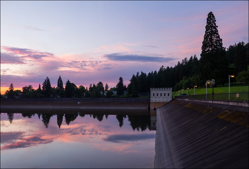 As the sun went down at lower reservoir at Mount Tabor, the sky lit up.