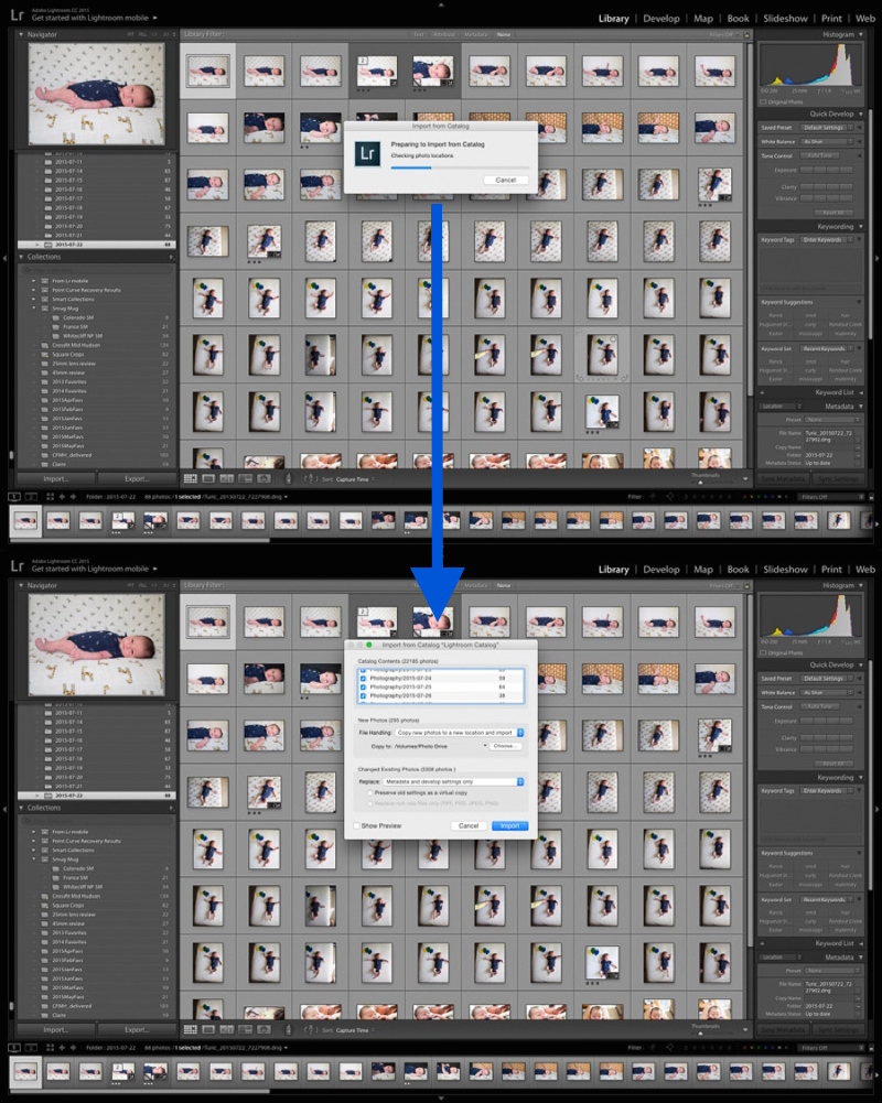 Lightroom finds all new and changed photos when importing from another catalog.