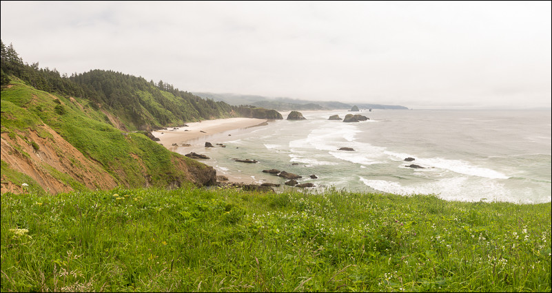 The view from Ecola State Park, looking south down the Oregon Coast towards Haystack  Rock.
