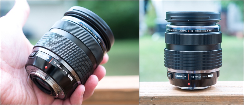 The Olympus 12-40mm is big by micro four thirds standards, but can still fit in the palm of your hand.