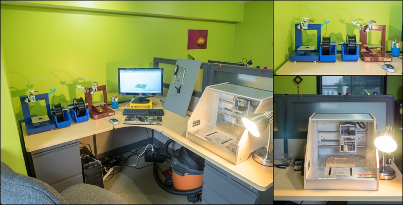 3D printer and CNC machine setup in the Lensbaby R&D corner