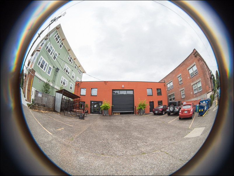 Outside Lensbaby HQ in Southeast Portland, Oregon. Taken with the Lensbaby circular fisheye for micro four thirds.