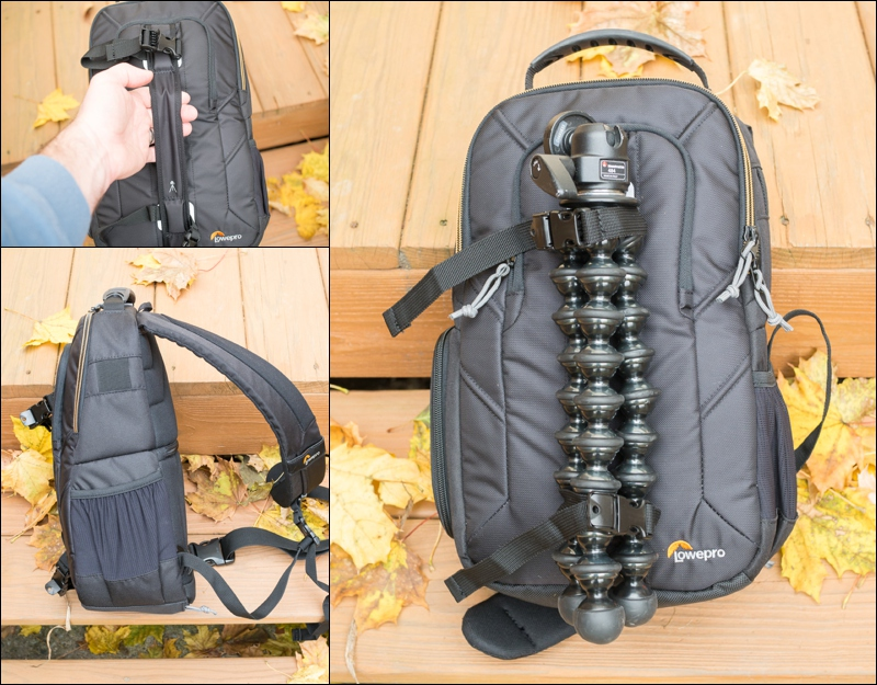 Hold a tripod and water bottle with no problem on this tiny bag.