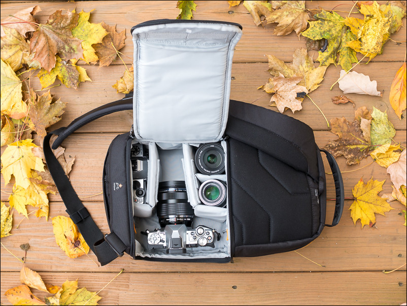The Slingshot Edge 150 has no problem holding a number of mirrorless bodies and lenses.