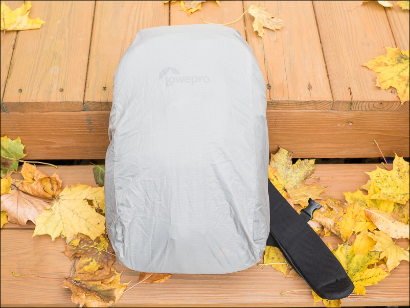 The Lowepro Slingshot Edge 150 with the AW (All Weather) cover.
